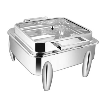 Square Full Glass Chafer With Curved Legs