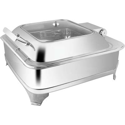 Square Glass Lid Chafer With E.E. & Frame