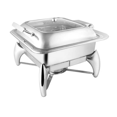 Square Glass Lid Chafer With Smart Leg