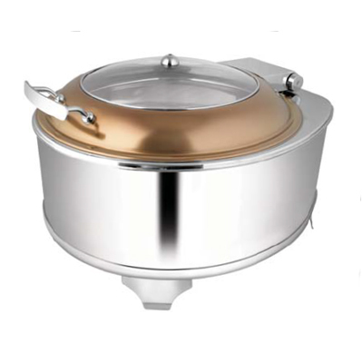 Round Rose Gold Glass Lid Chafer With Fuel Frame
