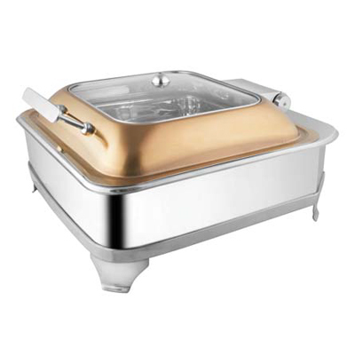 Square Rose Gold Glass Lid Chafer With E.E.& Frame