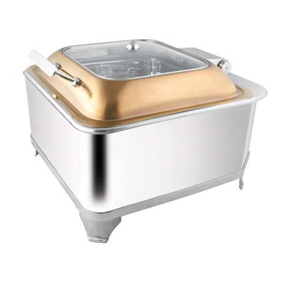 Square Rose Gold Glass Lid Chafer With Fuel Frame