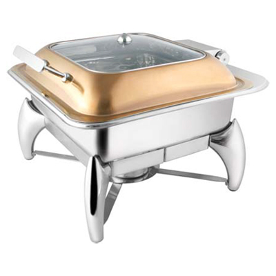 Square Rose Gold Glass Lid Chafer With Smart Legs