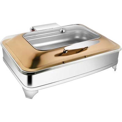Rectangular Rose Gold Rect Glass Chafer With E.E. & Frame