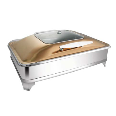 Rectangular Rose Gold Sq. Glass Chafer With E.E. & Frame