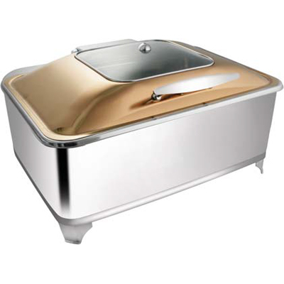 Rectangular Rose Gold Sq. Glass Chafer With Fuel Frame