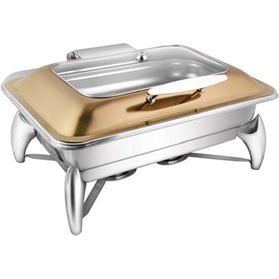 Rectangular Rose Gold Rect. Glass Lid Chafer With Smart Legs