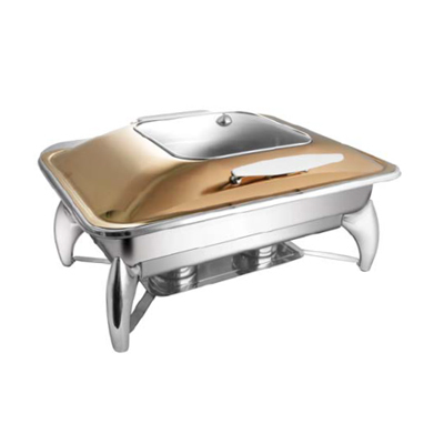 Rectangular Rose Gold Sq. Glass Lid Chafer With Smart Legs