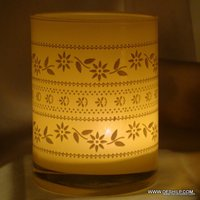 YELLOW GLASS WITH PRINT T LIGHT CANDLE HOLDER