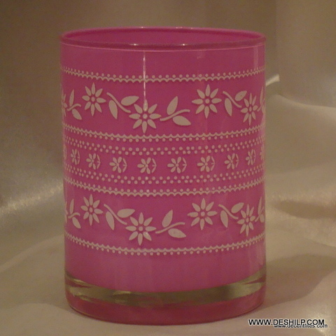 PINK GLASS COLORFUL T LIGHT CANDLE