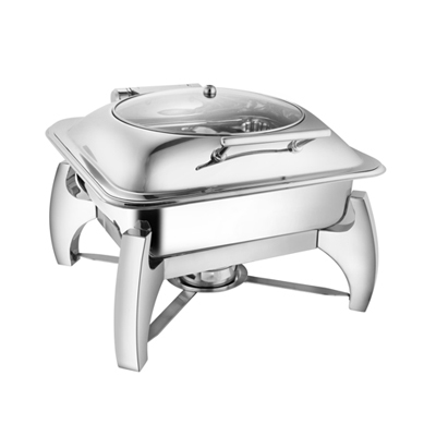 Square Glass Lid Chafer With Grand Legs