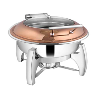 Round Rose Gold Glass Lid Chafer With Grand Legs