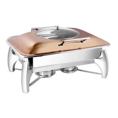 Rectangular Rose Gold Glass Lid Chafer With Grand Legs