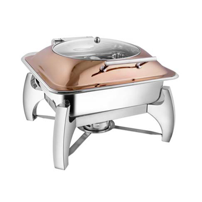 Square Rose Gold Glass Lid Chafer With Grand Legs