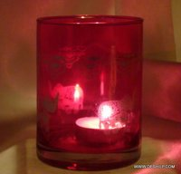 Red Color Plane Glass T light candle Holder