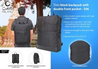 Slimz Black Backpack with double front pocket
