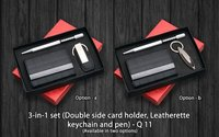 3 in 1 Set ( Double Side Card Holder Leatherette Keychain and Pen)