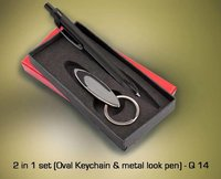 2 in 1 Set (Oval Keychain and Metal Look Pen)