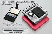 Set of 3 (Round PU Keychain, 3 in 1 Wallet & Beautiful Pen