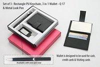 Set of 3 (Round PU Keychain, 3 in 1 Wallet & Metal Look Pen