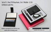 Set of 3 (Round PU Keychain, 3 in 1 Wallet & Metal Look Pen)