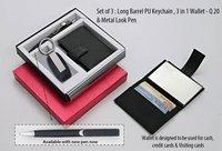Set of 3 : Long Barrel PU Keychain, 3 in 1 Wallet & Metal Look Pen