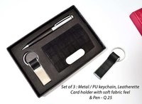 Set of 3 : Metal / PU Keychain, Leatherette Card Holder with Soft Fabric Feel & Pen