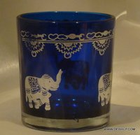 BLUE GLASS ELEPHANT PRINTING GLASS CANDLE HOLDER