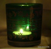 GREEN GLASS T LIGHT CANDLE VOTIVE