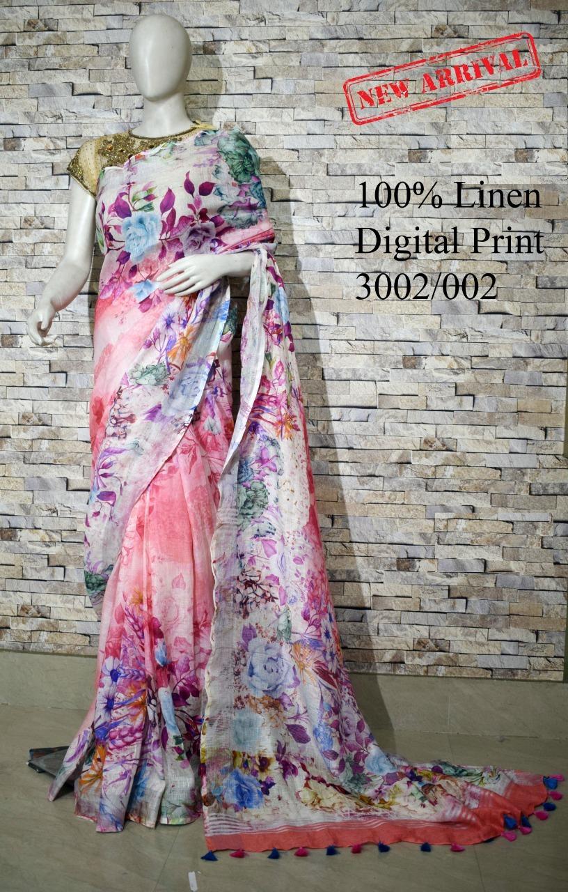 Ladies Linen Sarees