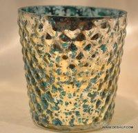 Green and Silver Laser Stars Glass Tea Light Holders
