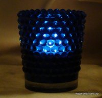 DOTTED GLASS BLUE COLOR CANDLE HOLDER