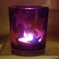 PRINTED GLASS T LIGHT CANDLE VOTIVE