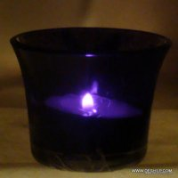 SMALL BLUE GLASS T LIGHT CANDLE VOTIVE