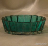 SMALL COLORFUL GLASS PLATE WITH METAL FITTING