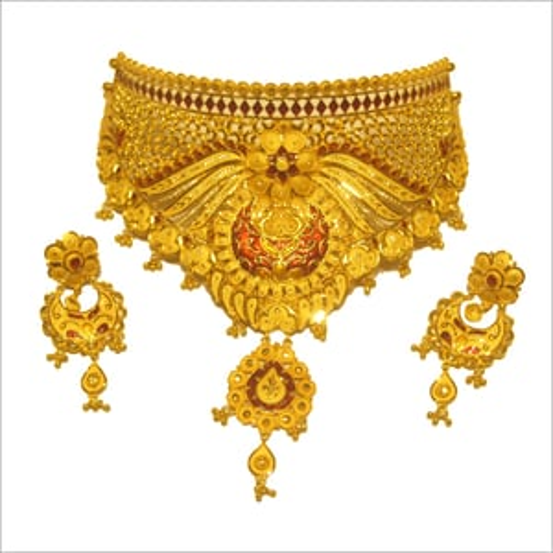 Ladies Gem Studed Gold Necklace