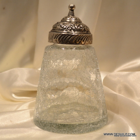 Clear Jar With Metal Crackle Clear Glass Square Jars