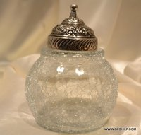 CRACKLE GLASS JAR WITH METAL COVER