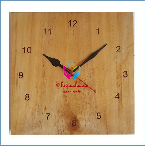 Pine Wood Glosse Wall Clock 9 Inches