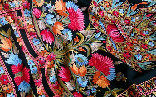 Kashidakari Machine Embroidery Fabric