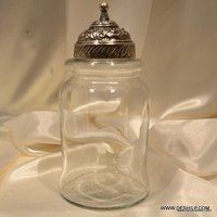 ROUND GLASS CLEAR JAR WITH METAL FITTING