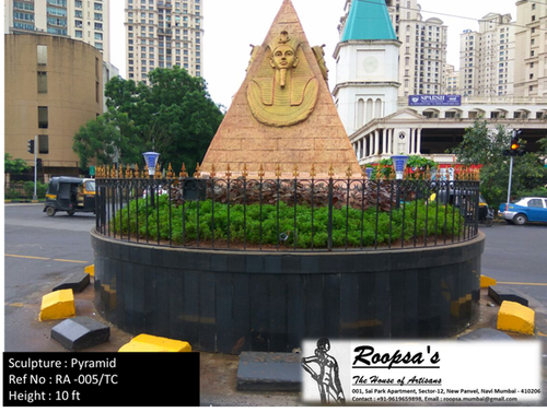 Traffic circle pyramid sculpture