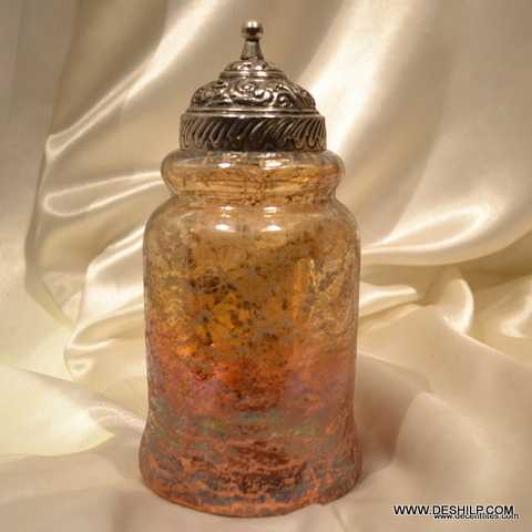 GLASS JAR WITH METAL FITTING