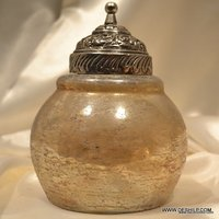 DECORATED COLORED GLASS JAR WITH LID