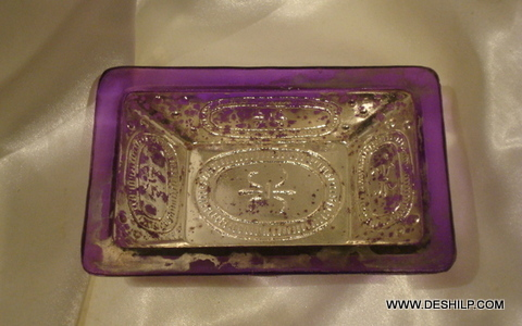SILVER GLASS BLUE COLOR TABLE PLATE