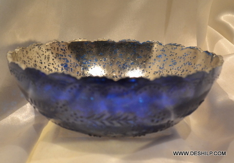 SILVER GLASS DECOR BOWL