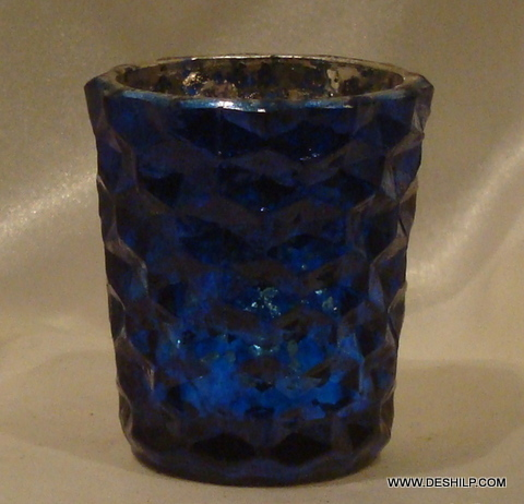 BLUE GLASS T LIGHT CANDLE HOLDER