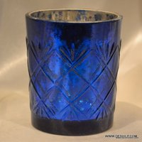SILVER AND COLOR GLASS CANDLE HOLDER