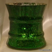 GREEN GLASS SILVER CANDLE HOLDER