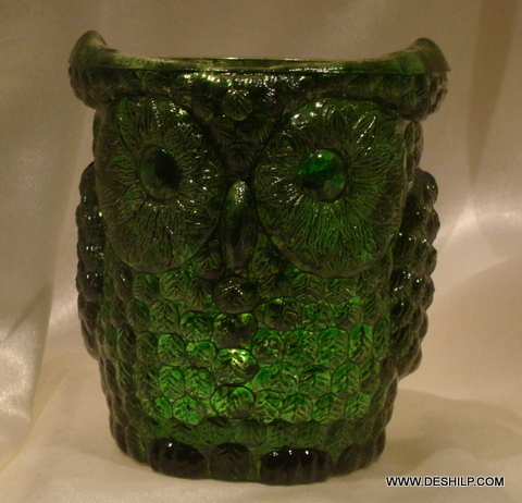 OWL SHAPE GREEN GLASS CANDLE HOLDER